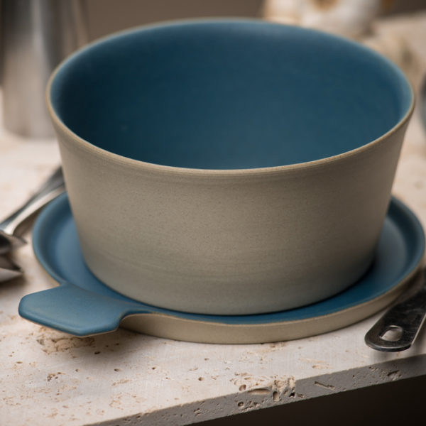 Stonefire Kitchen: Handmade Stonefire Pot With Lid-Oh! Bolo Blue