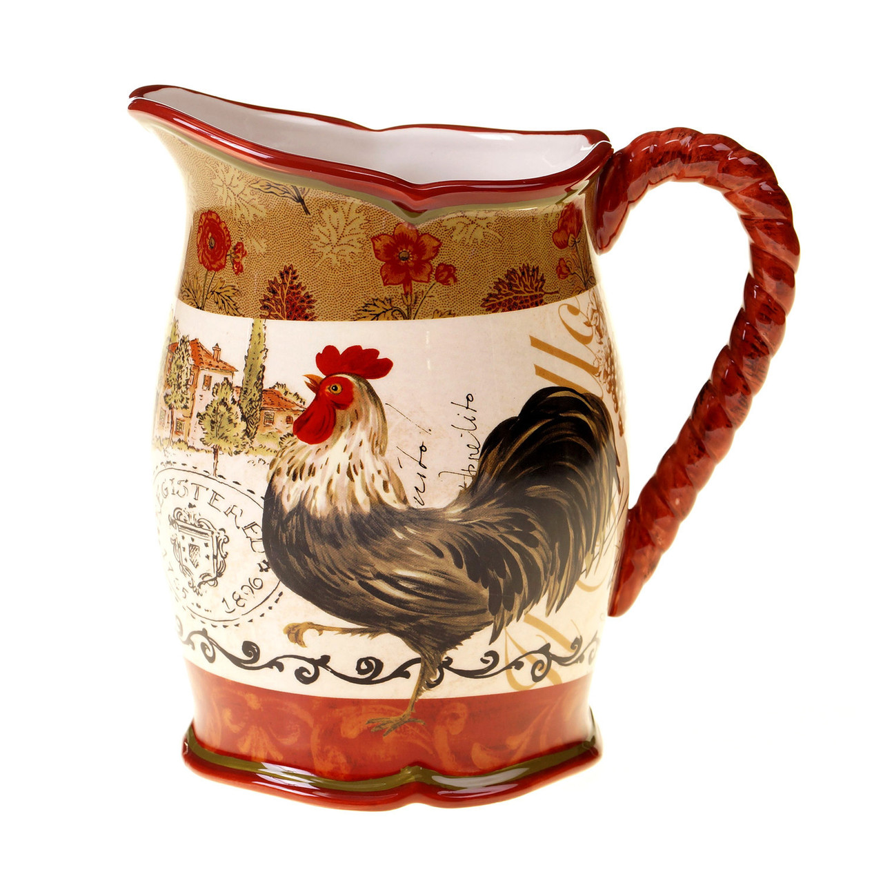 Tuscan rooster pitcher 3qt tuscan italian decor for Decor products international