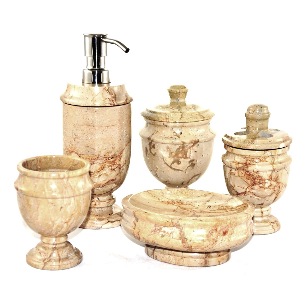Rustic sahara beige marble 5 piece bathroom accessory set for Stone bathroom accessories sets